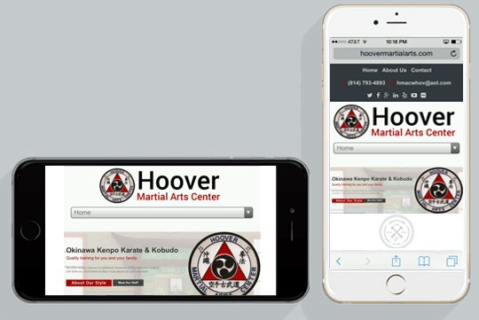 mobile ready martial arts websites